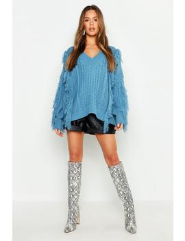 Oversized Fringe Cable Knit Boyfriend Jumper by Boohoo