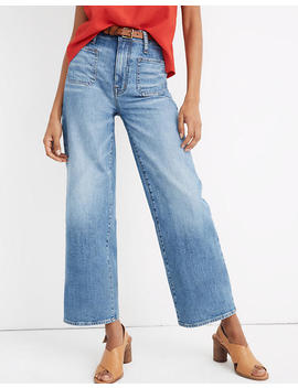 Petite Wide Leg Crop Jeans In Chesney Wash by Madewell
