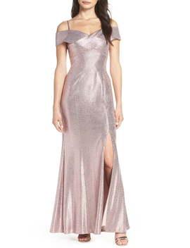 Crisscross Portrait Collar Metallic Evening Dress by Morgan & Co.