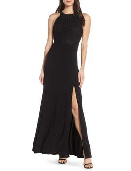 Pleat Lace Bodice Evening Dress by Morgan & Co.