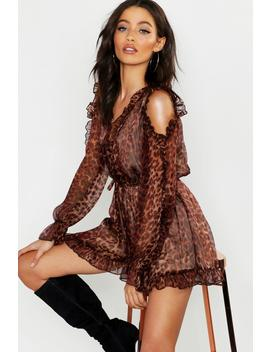 Leopard Chiffon Ruffle Cold Shoulder Playsuit by Boohoo