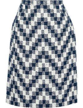 Checked Cotton Blend Tweed Skirt by Oscar De La Renta