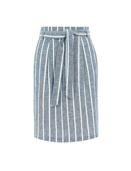 **Blue Tall Striped Linen Blend Skirt by Dorothy Perkins