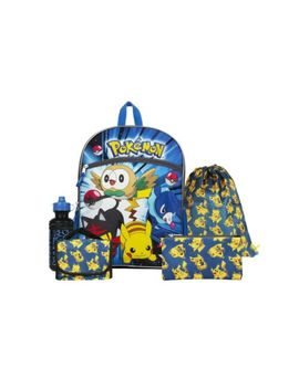 """Pokemon Blue And Yellow 16"""" Backpack Back To School Essentials Set by Fab Starpoint"""