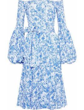 Gisele Off The Shoulder Printed Cotton Poplin Dress by Caroline Constas