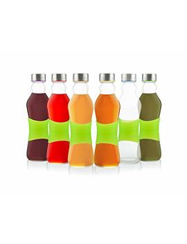 Glèur Reusable Glass Beverage Bottles, With A Green Strip Of Silicone For Easy Grip, And A Stainless Steel Airtight Cap, With Different Colored Lids Silicone, 17 Oz Set Of 6 by Glèur