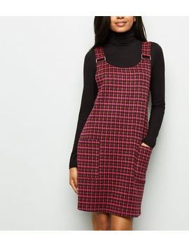 Petite Pink Houndstooth Pinafore Dress by New Look