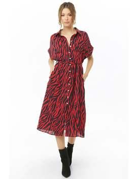 Zebra Print Shirt Dress by Forever 21