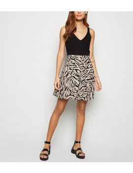 Brown Tiger Print Button Up Mini Skirt by New Look