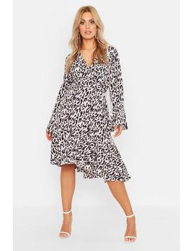 Plus Wrap Front Leopard Print Ruffle Hem Midi Dress by Boohoo