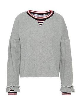 Striped Cotton Blend Fleece Sweatshirt by Rebecca Minkoff