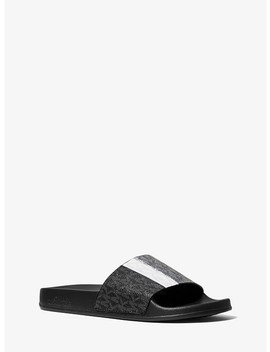 Ayla Color Block Logo Slide by Michael Michael Kors