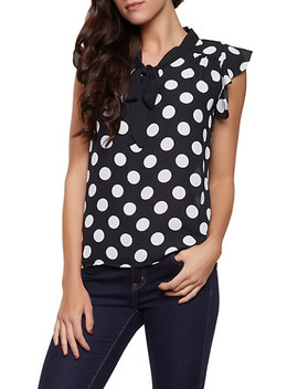 Polka Dot Tie Neck Blouse | 1001074292406 by Rainbow
