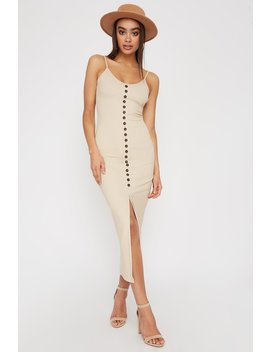 Ribbed Button Cut Out Sleeveless Midi Dress by Urban Planet