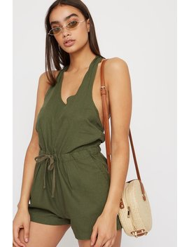 Linen Tie Back Romper by Urban Planet
