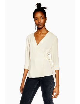 Ivory Buckle Wrap Blouse by Topshop