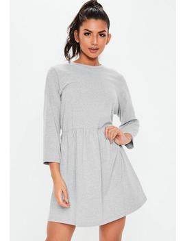 Grey Jersey Half Sleeve Oversized Smock Dress by Missguided