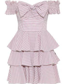Helena Off The Shoulder Bow Embellished Gingham Cotton Poplin Mini Dress by Caroline Constas