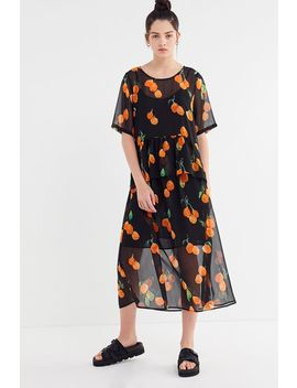 Just Female Hilda Orange Print Midi Dress by Just Female