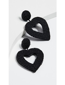 Beaded Heart Drop Earrings by Bauble Bar
