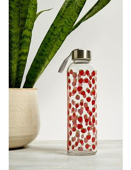 Strawberry Print 532ml Glass Water Bottle by Urban Outfitters