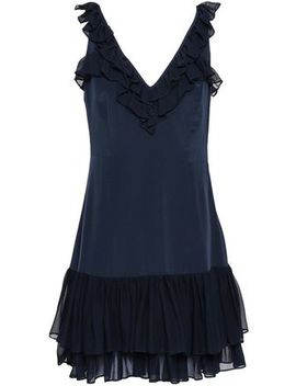 Eloizia Ruffled Georgette Trimmed Silk Crepe De Chine Mini Dress by Cinq À Sept