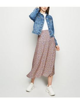 Tall Pink Ditsy Floral Print Midi Skirt by New Look