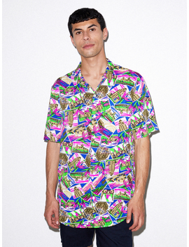 Viscose Short Sleeve Button Up Shirt by American Apparel