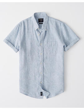 Short Sleeve Button Up Linen Shirt by Abercrombie & Fitch