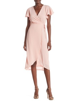Woven Flutter Sleeve Wrap Dress by Everly