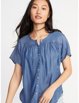 Shirred Button Front Tencel® Top For Women by Old Navy