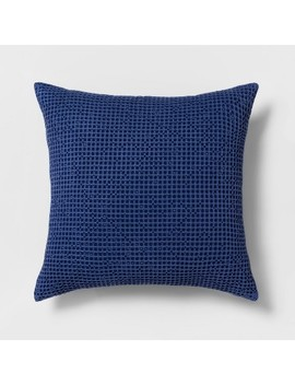 Euro Waffle Weave Throw Pillow Blue   Threshold by Threshold