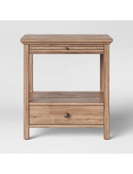Shelburne Wood Nightstand With Drawer/Slide Out Shelf Brown   Threshold by Threshold