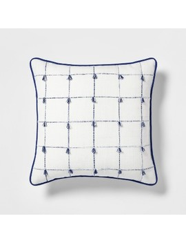 Woven Plaid With Mini Fringe Square Throw Pillow Blue/White   Threshold by Threshold
