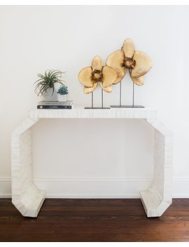 Cadyna Natural Bone Console Table With Faceted Legs by Neiman Marcus