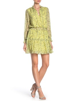 Ruffle Trim Smocked Floral Dress by Nsr