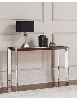 Bradshaw Polished Nickel Console Table, Smoke Gray/Silver by Interlude Home