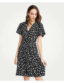 Floral Flutter Sleeve Wrap Dress by Ann Taylor