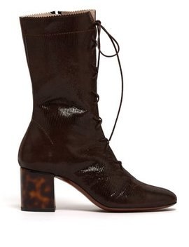 Forever Lace Up Lizard Effect Suede Boots by Alexachung