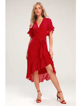 For The Frills Red High Low Wrap Dress by Lulus