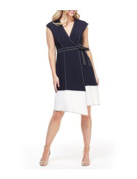 Colorblock Cross Stitch Wrap Dress by Maggy London