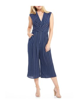 Stripe V Neck Sleeveless Cropped Jumpsuit by Maggy London
