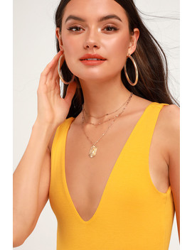 Check You Out Golden Yellow Sleeveless Bodysuit by Lulus Basics