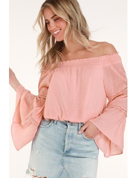 Sunny Story Blush Pink Lace Bell Sleeve Off The Shoulder Top by Lulus