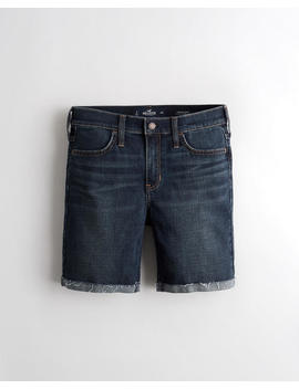 Advanced Stretch Mid Rise Denim Short 7 In. by Hollister