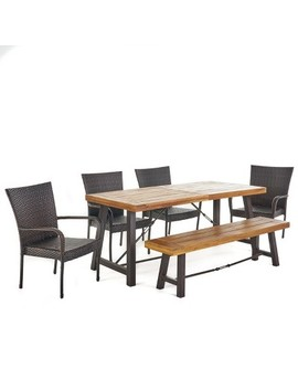 Salons 6pc Acacia & Wicker Dining Set   Teak/Brown   Christopher Knight Home by Teak/Brown