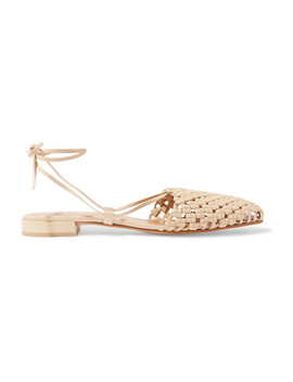 Costa Lace Up Woven Leather Flats by Loq