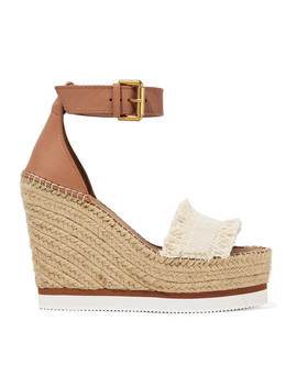 Leather And Canvas Espadrille Wedge Sandals by See By Chloé
