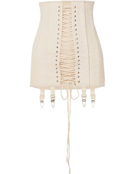 Gamine Lace Up Cotton Twill Mini Skirt by Orseund Iris