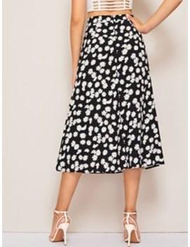 Daisy Print High Rise Midi Skirt by Sheinside